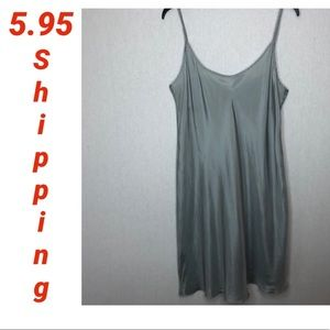 Silky slip dress, night gown grey/silver